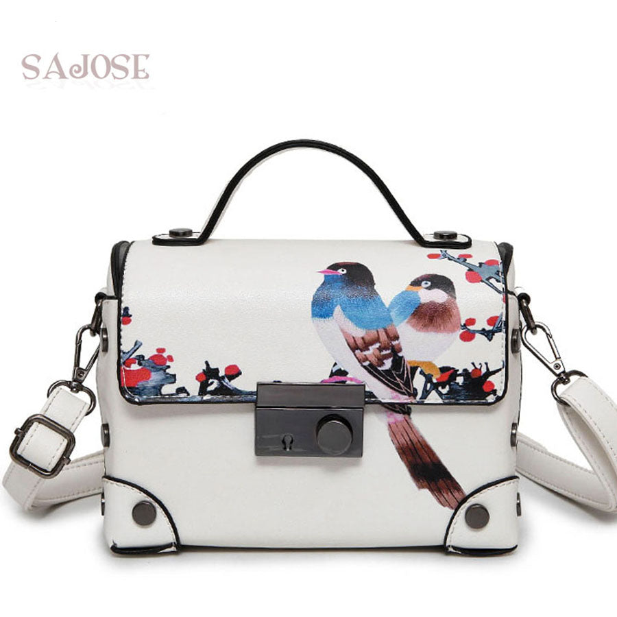 SAJOSE Trunk Retro Painting Animal Picture Bags Women Messenger Shoulder Leather Handbag