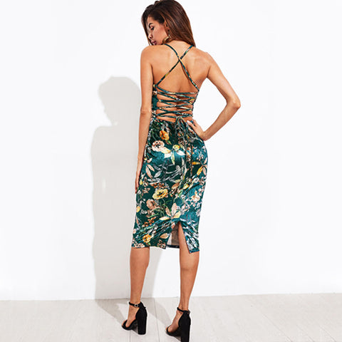 Lace Up Back Floral Velvet Dress Botanical Cami Midi Summer Dresses Green Bodycon Party Dress