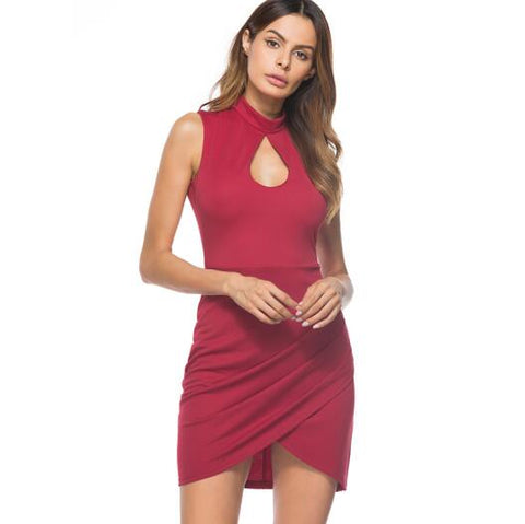Berydress Cocktail Party Turtle Neck Sleeveless Sexy Keyhole Ruched Bodycon Sheath Mini Club Dress