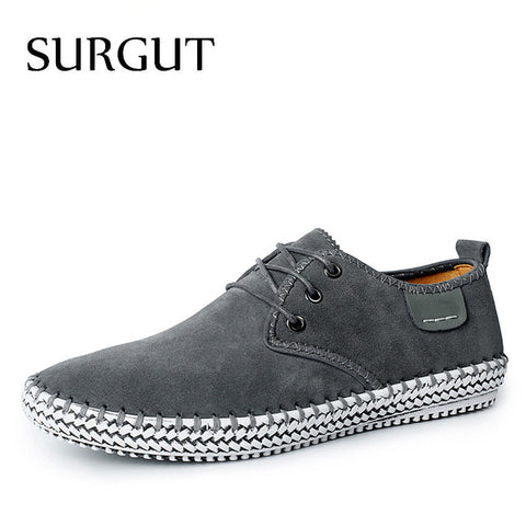 Minimalist Genuine Suede Leather Men Leisure Flat Spring Formal Casual Flat Oxford - Shoes
