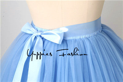 Quality 5 Layers Summer Midi Tulle Skirt Pleated TUTU Skirts Women Petticoat Bridesmaids