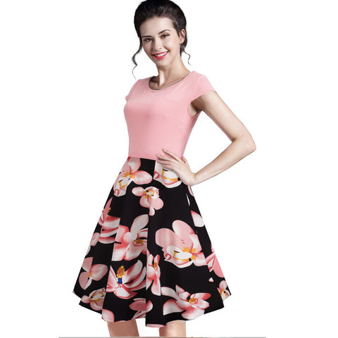 Nice-forever Summer Floral Casual Print Charming O Neck Sleeveless Zipper Work Office Dress