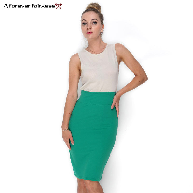Pencil Skirt With High Waist Tight Office Skirt Slim Casual Package Hip Skirt