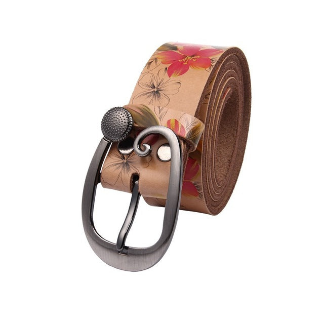 Women Belt Flower Print Luxury Brand Genuine Leather Belt Female Strap Ceinture Belts