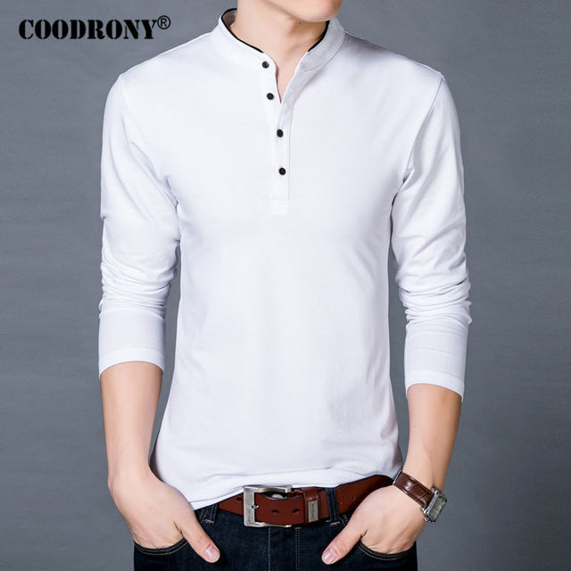 Men Spring Autumn Cotton T Shirt Men Solid Color T Shirt Collar Long Sleeve Top Tees