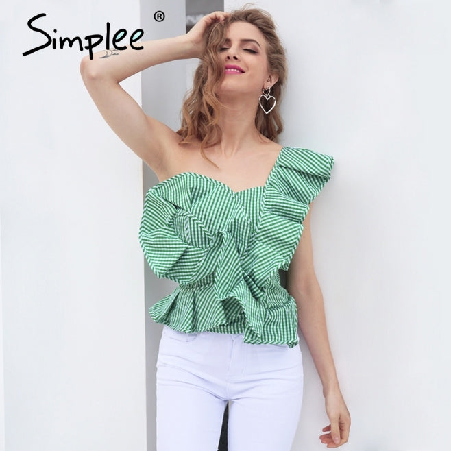 Simplee One Shoulder Shirt Tops Summer Irregural Striped Blouse Chemise Femme Ruffles Zipper Blouse