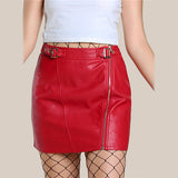 Red PU Leather Mini Pencil Skirt Buckle Strap Waist Sexy Club Skirts Empire Zip Up Casual Summer Skirt
