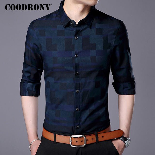 Men Shirt Mens Business Casual Shirts Famous Brand Clothing Plaid Long Sleeve Camisa Masculina