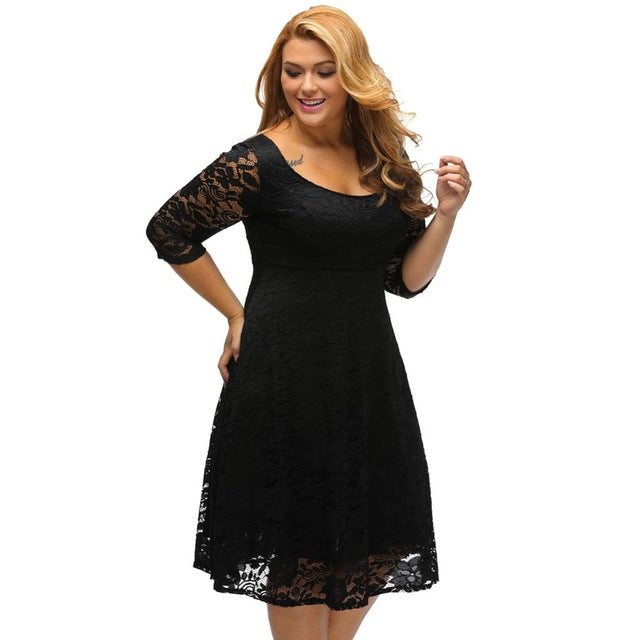 Autumn Plus Size Dresses Women Lace Dress Midi Floral O-Neck A-Line Large Evening Wedding Party Dress