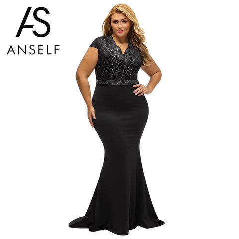 Woman Plus Size Dress Rhinestone Scalloped V Neck High Waist Long Gown Big Size Sexy Elegant Party Dresses