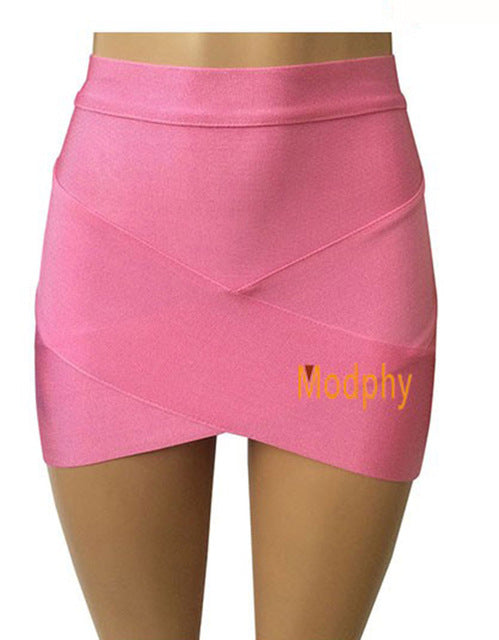 Hot Short Elastic Rayon Bandage Skirt Mini Sexy Slim Tight Pencil Night Club Party Candy Colors