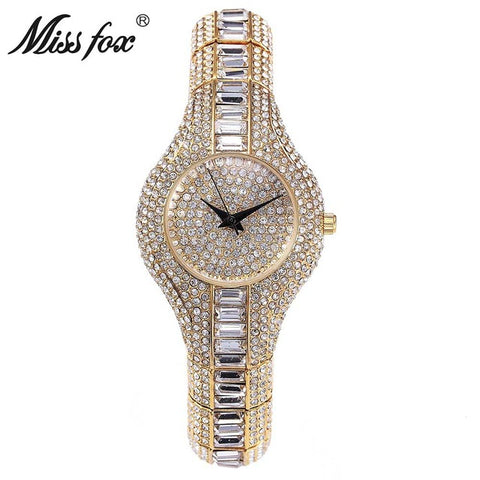 Miss Fox Austria Crystal Women Watches Luxury Gold Watch Shockproof Waterproof Small Watch Clock