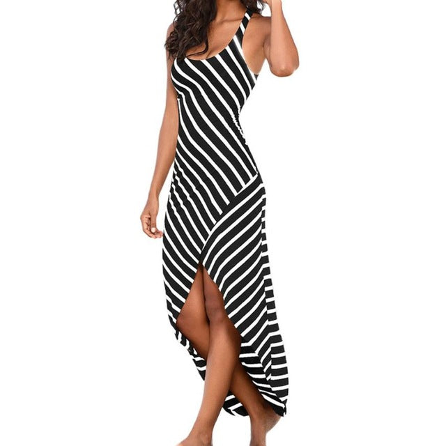 Refeeldeer Summer Sundress Female Striped Long Maxi Dress Tunic Boho Beach Dress Robe - Clothes