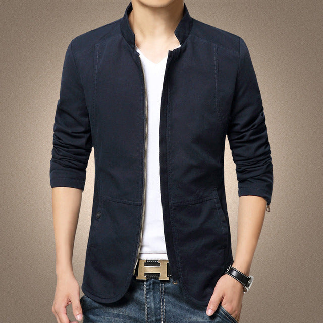 Spring Brand Men's Jacket Coat Stand Collar Casual Slim Jacket Men Cotton Coat Outwear