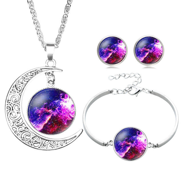 moon starry sky colorful glass pendant necklace alloy silver jewelry party gift - Jewelry