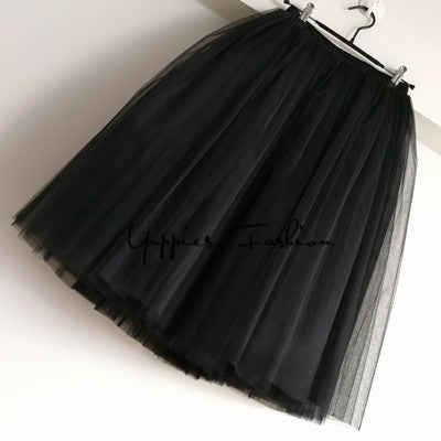 Maxi Long Tulle Skirt Elegant Pleated Tutu Skirts Vintage Petticoat Jupe