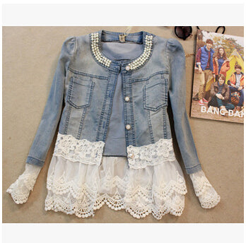 Women Denim Jacket Long Sleeve Lace Jeans Jackets Women Oversized Jean Coat Female Outwear