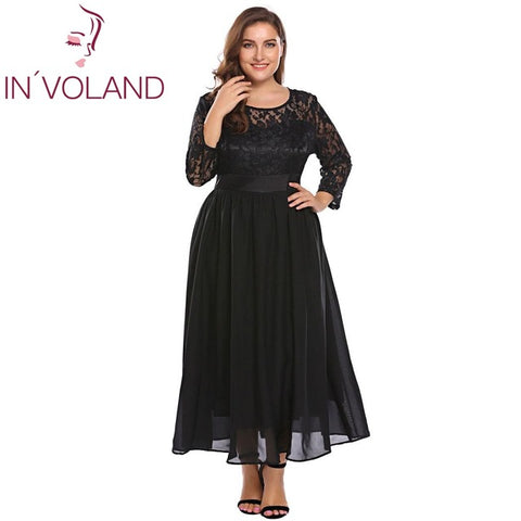 Women Vintage Lace Dress Plus Size Autumn Hollow Floral Lace 3/4 Sleeve Party Swing Maxi Large Dresses