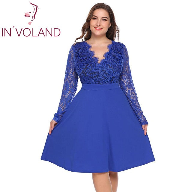 Women Lace Dress Plus Size Hollow Floral Long Sleeve Backless Large Swing Party Dresses Big Size