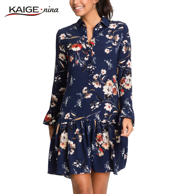 KaigeNina Prairie Chic Flower Printing Cloth Flare Sleeve Mid-Calf Knitting Cotton Dress