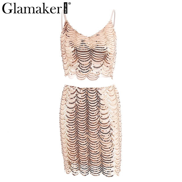 Glamaker Sexy Sequined Two-piece Suit Short Dress Shiny V Neck Club Casual Dress Strap Party Vestidos