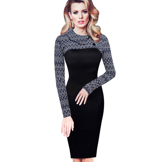 Vintage Fitted Winter Dress Full Sleeve Patchwork Turn-down Collar Button Business Sheath Pencil Dress