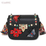SAJOSE Women Small HandBag Flowers Designer Leather Shoulder Messenger Crossbody Luxury Bags