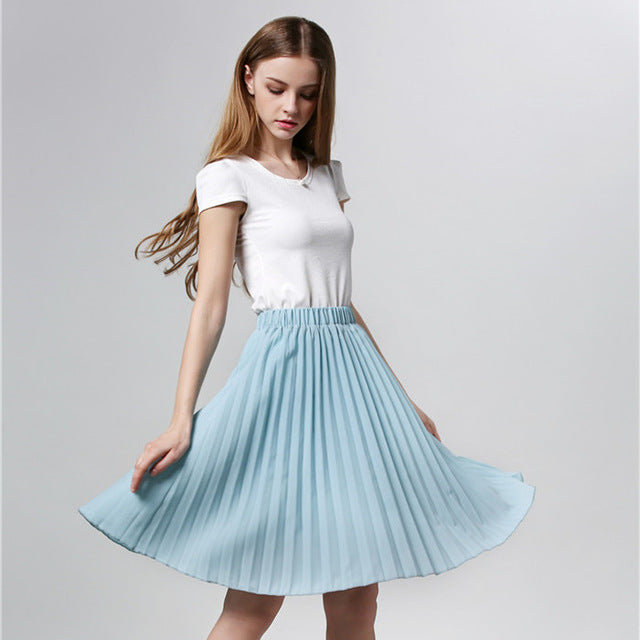 Vintage Tulle Tutu Midi Summer Skirts Slim Elastic High Waist Jupe Longue Skater Pleated Skirts