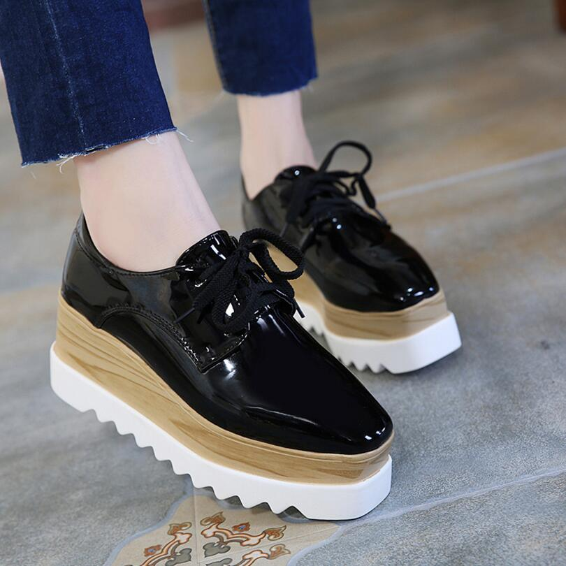 6d4e84f649 ... Black Mirror Flat Platform Shoes Women Lace-Up Square Toe Oxford Shoes  Sneakers Autumn Creepers ...