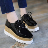 Black Mirror Flat Platform Shoes Women Lace-Up Square Toe Oxford Shoes Sneakers Autumn Creepers - Shoes