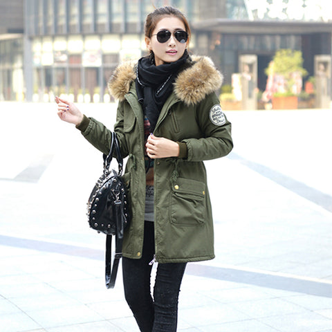 Winter Jacket Women Faux Fur Coat Hood Jacket Thicken Solid Military Long Parka Plus Size