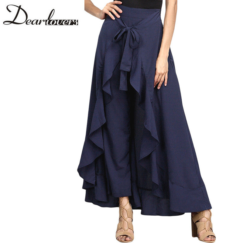 Dear Lover Wrap Skirts Casual Navy Chiffon Tie-Waist Ruffle Wide Leg Loose Pants Black Grey