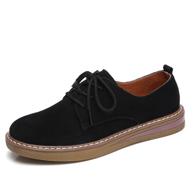 Autumn Women Sneakers Oxford Flats Shoes Leather Suede Lace Up Boat Shoes Round Toe Flats Moccasins - Shoes