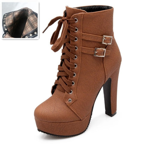 Autumn Winter Women Ankle Boots High Heels Lace Up Leather Double Buckle Platform Short Booties Black - Shoes