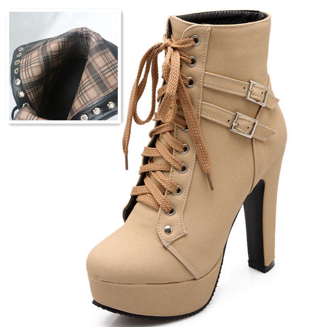 d394dbc68d0 Autumn Winter Women Ankle Boots High Heels Lace Up Leather Double Buckle  Platform Short Booties Black - Shoes