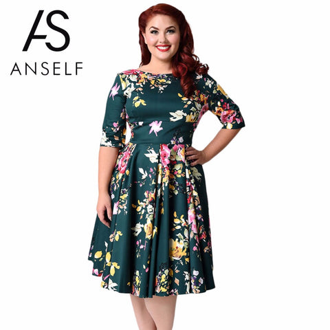 Women Summer Sleeve Retro Stretchy Knee Length Cocktail Bodycon Dress Casual Party Plus Size Lace Dress