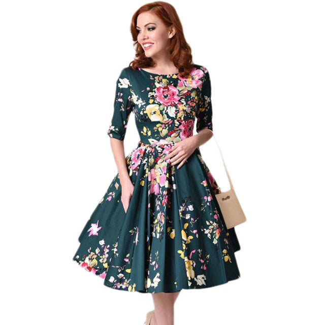 Autumn Vintage Plus Size Dress Women Floral Dress Round Neck Half Sleeve High Waist Back Zip Pleated Party Dresses