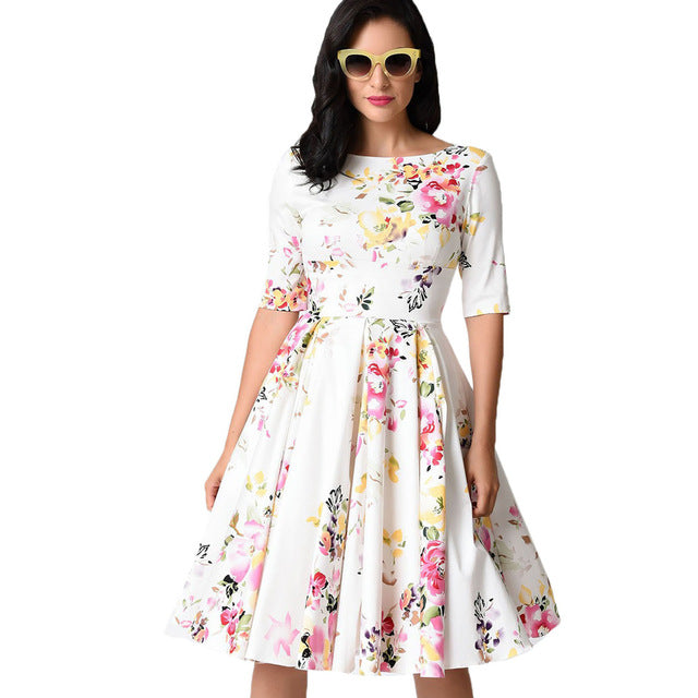 25e28d4c4d Autumn Vintage Plus Size Dress Women Floral Dress Round Neck Half Sleeve  High Waist Back Zip Pleated Party Dresses