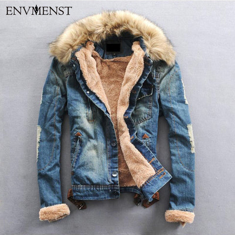 Winter Ripped Denim Jacket Men Jean Coat Casual Jacket Fur Collar Wool Thick Plus Size Outwear