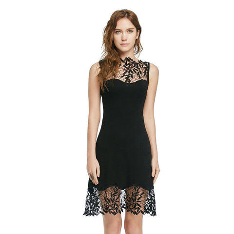 Dress Vintage Style Sexy Party Lace Stitching Pierced Solid Color Classic Black Slim Short Sleeveless Dresses