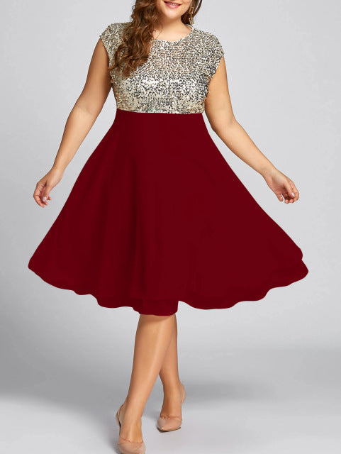Gamiss Women Flounce Plus Size Dress Sequin Sparkly Dresses Cocktail Short Sleeves Party Ball Gown Knee-Length