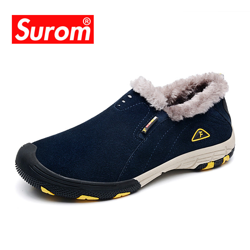 SUROM Real Leather Mens Winter Snow Boots Warm Casual - Shoes