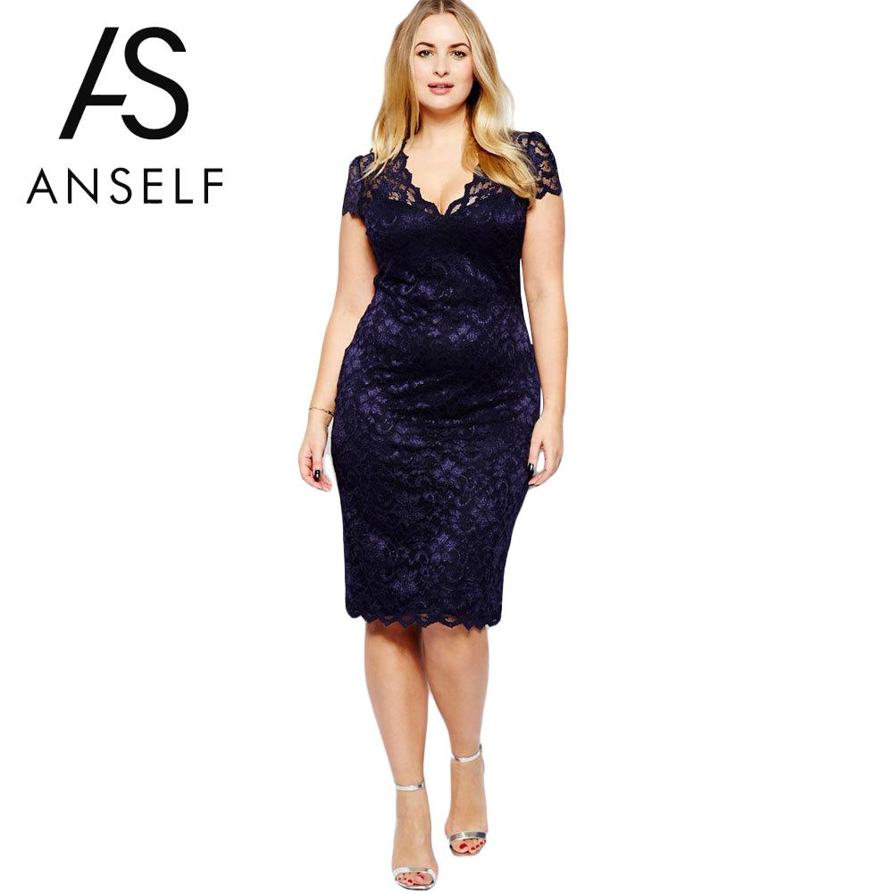 Plus Size Lace Dress Women Bodycon Pencil Dress V-Neck Floral Lady Evening Party Dresses Midi Sundress