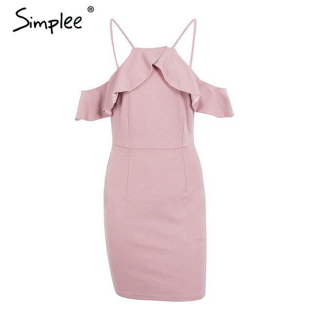Simplee Strap Cold Shoulder Ruffle Winter Dress Sexy Backless Split Bodycon Christmas Party Dresses