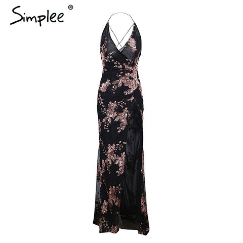 Simplee Lace Up Halter Sequin Party Dresses Backless High Split Maxi Dress Long Dress
