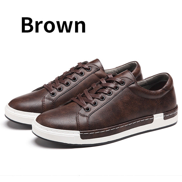 ce7e6fc956 Autumn Casual Shoes Mens Leather Flats Lace-Up Shoes Simple Shoes Large  Sizes Oxford ...