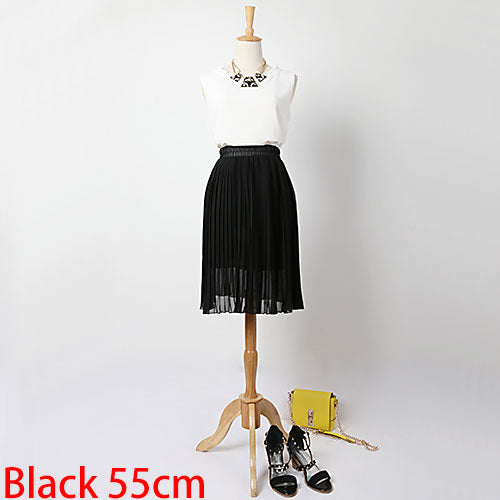 GAREMAY Long Chiffon Skirts Summer Pleated Black White Skirt School Maxi Bohemian Skirt