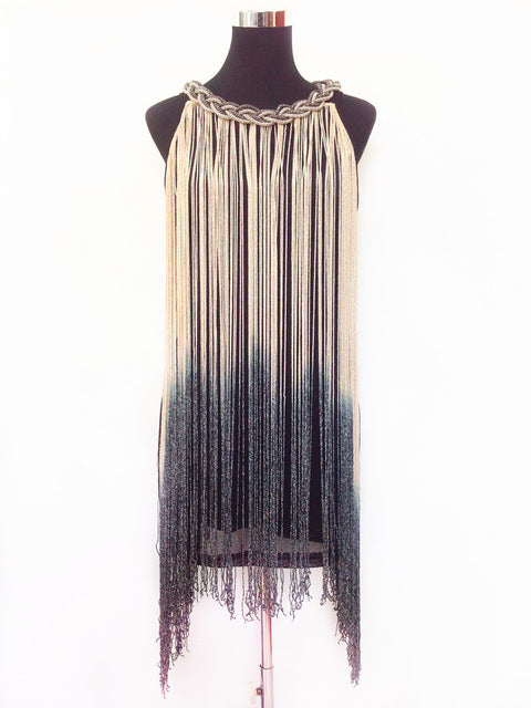 Ombre Metal Chain Halter Black Fringe Flapper Charleston Dress Robe Sexy Party Bodycon Club Dress Vestido