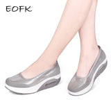 EOFK Women Flat Platform Shoes Moccasin Platform Slip On Ladies Shoes Casual Flats Moccasins - Shoes