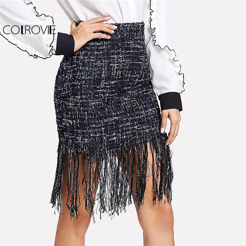 COLROVIE Fringe Hem Tweed Skirt Mid Waist Above Knee Sheath Skirt Zipper Casual Winter Skirt